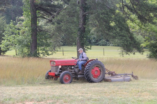 A farmer uses his tractor to bushhog a pasture in Butts County, Ga.