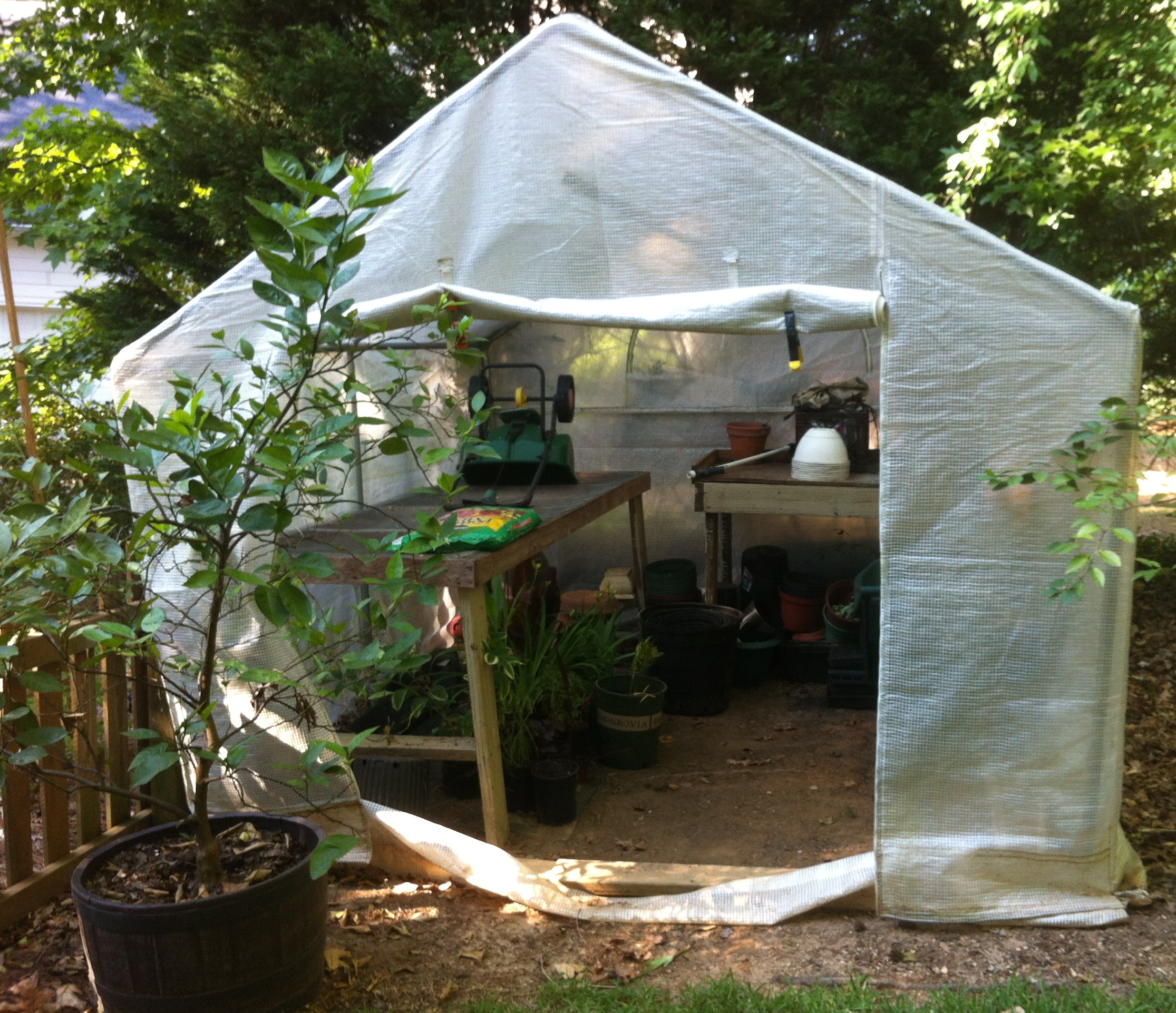 10-by-10 greenhouse built from a kit